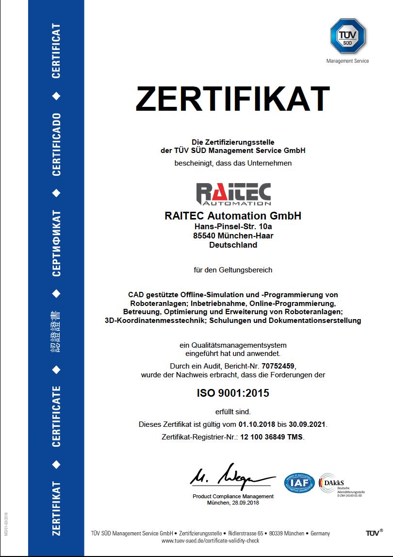 RAITEC_AUTOMATION_GMBH_TUEV_Zertifikat_de